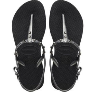 HAVAIANAS FREEDOM CRYSTAL STUDDED T-STRAP SANDALS